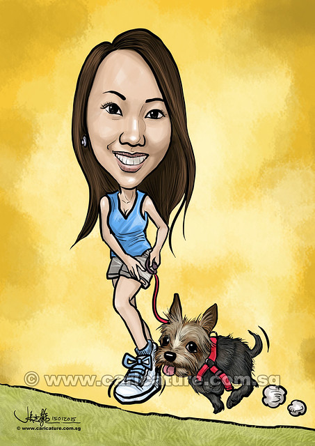digital lady caricature walking her dog (watermarked)
