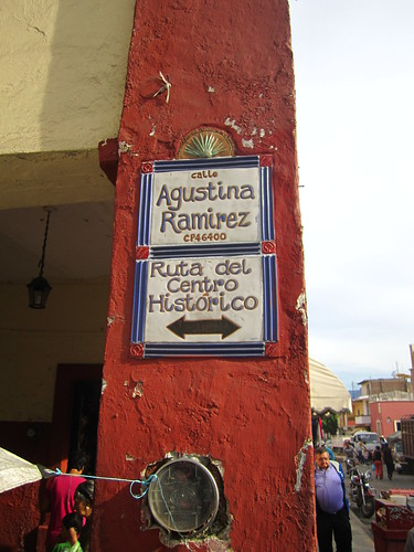 This is the street for 7 peso tacos in Tequila, Mexico.