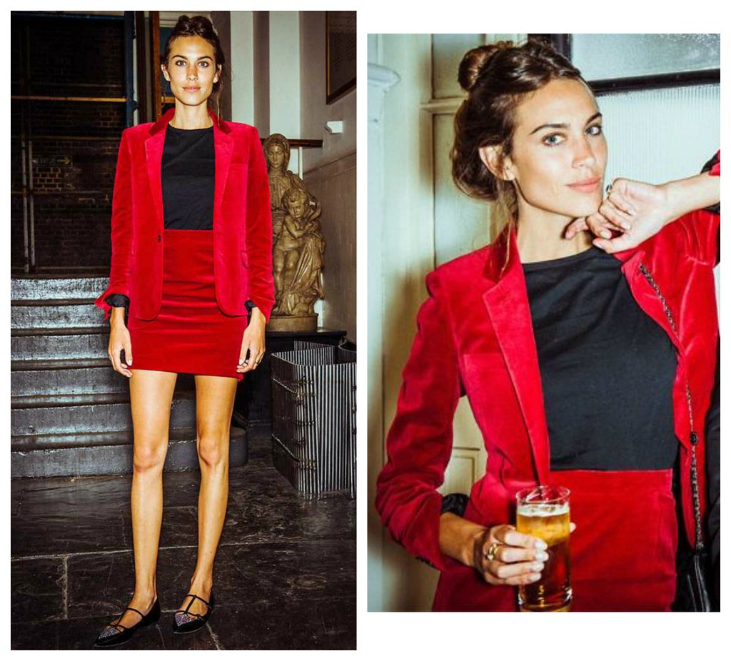 Alexa Chung red suit