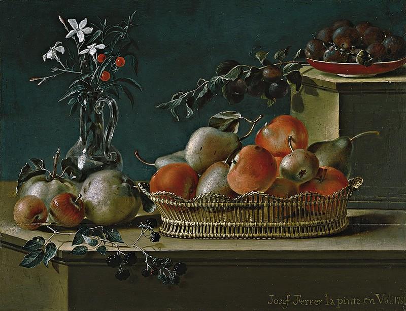 Jose Ferrer - Bodegón de frutas y florero de cristal (1781)