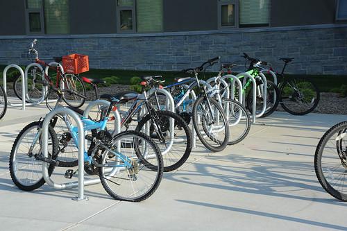 Bikes in a bike rack on campus