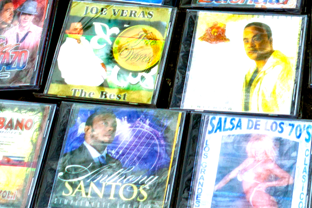 CDs for sale on sidewalk--Washington Heights (detail)