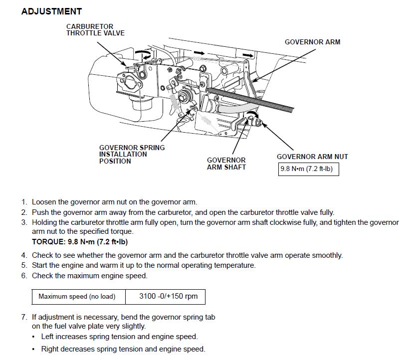Honda HRX17 mower - increase rpm | LawnSite