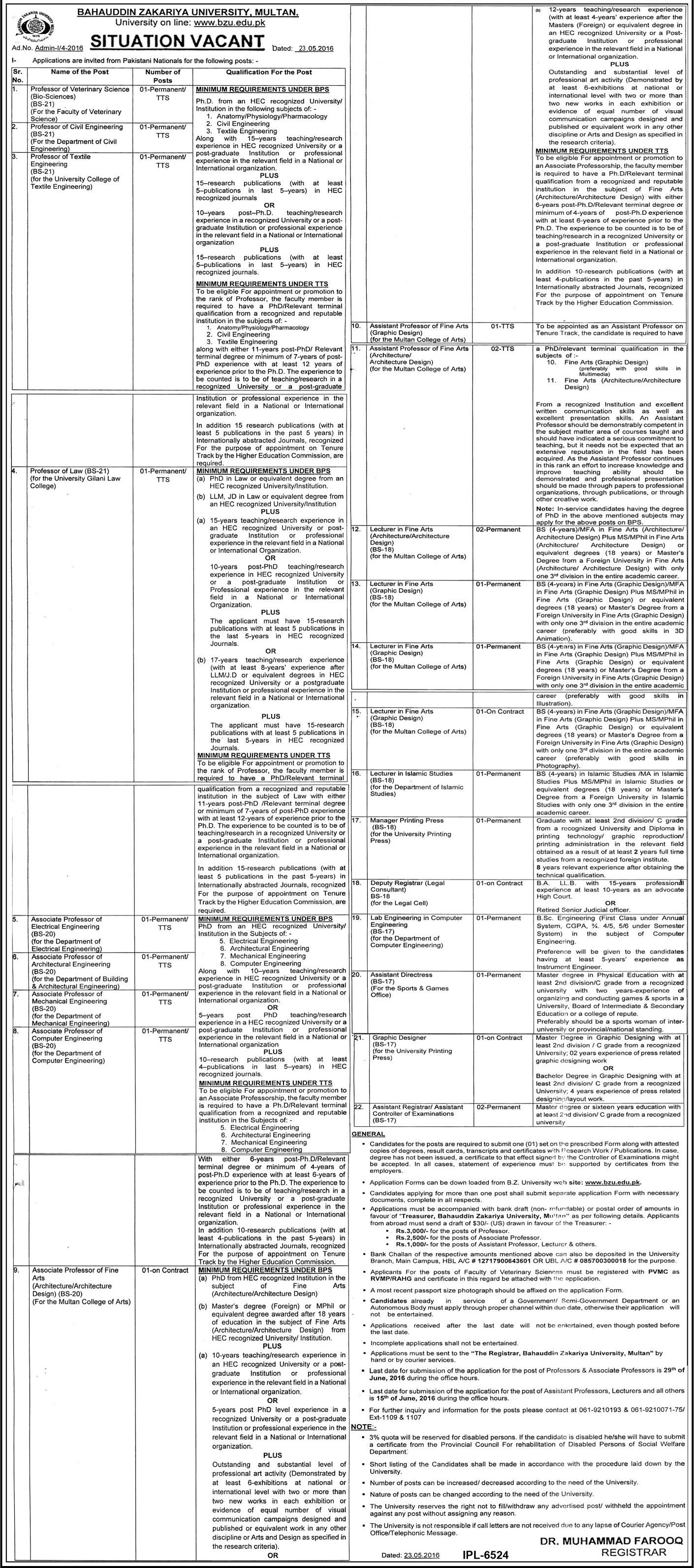 Bahuddin Zakariya University Multan Jobs 2016
