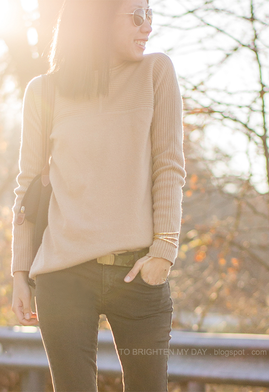 camel sweater, camo printed belt, olive pants