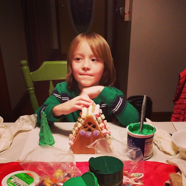 H and his gingerbread house
