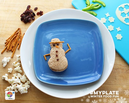 Edible MyPlate Snowman. Step 4.