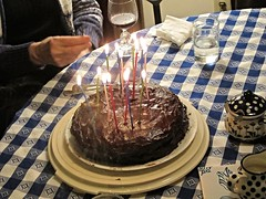 Candles on Sayre's birthday cake are all lit