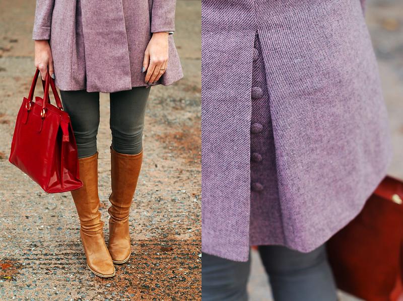 Autumn/Winter style: Peter Pan collar lavender coat, tan boots, red bag