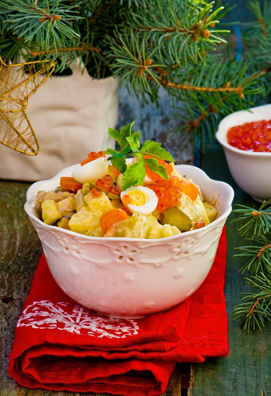 Salade Olivier, Russian salad, traditional Russian New Year's salad.2