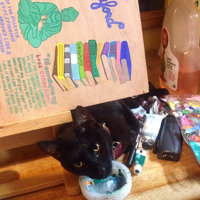 #atticuskitty does not want me to finish my uni painting tonight. He keeps knocking my paint pallets off the table, trying to drink my paint water, putting his paws in the paint and begging me for cuddles. I have one day left to finish this huge painting,