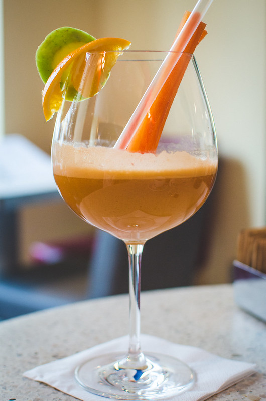 A refreshing ginger carrot juice at Pastacaffé in Prague.