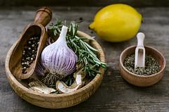 the set of spices: pepper lemon garlic rosemary,dr…