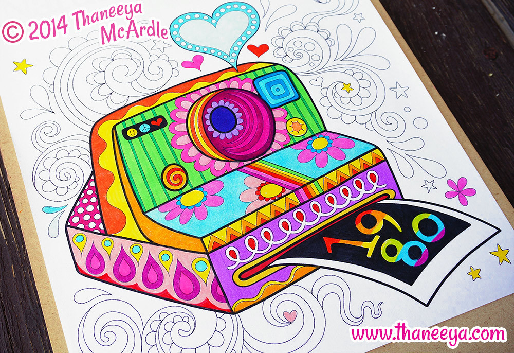Instant Camera Coloring Page Art By Thaneeya McArdle