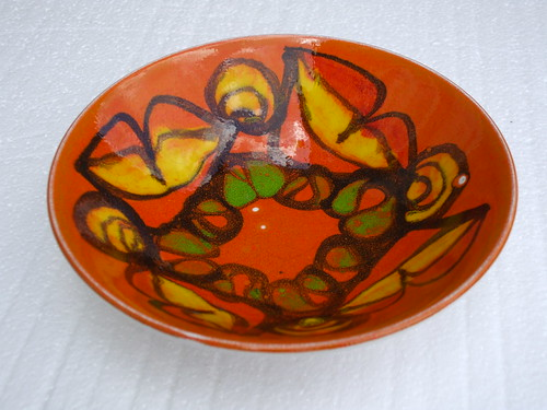 Vintage Retro Poole Pottery England Delphis Bowl Orange Abstract Design Mid Century Modern 1970's