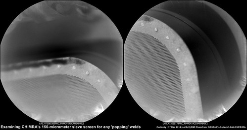 sol 841 - Checking for 'Popped Welds' in the 150 micron sieve inside CHIMRA