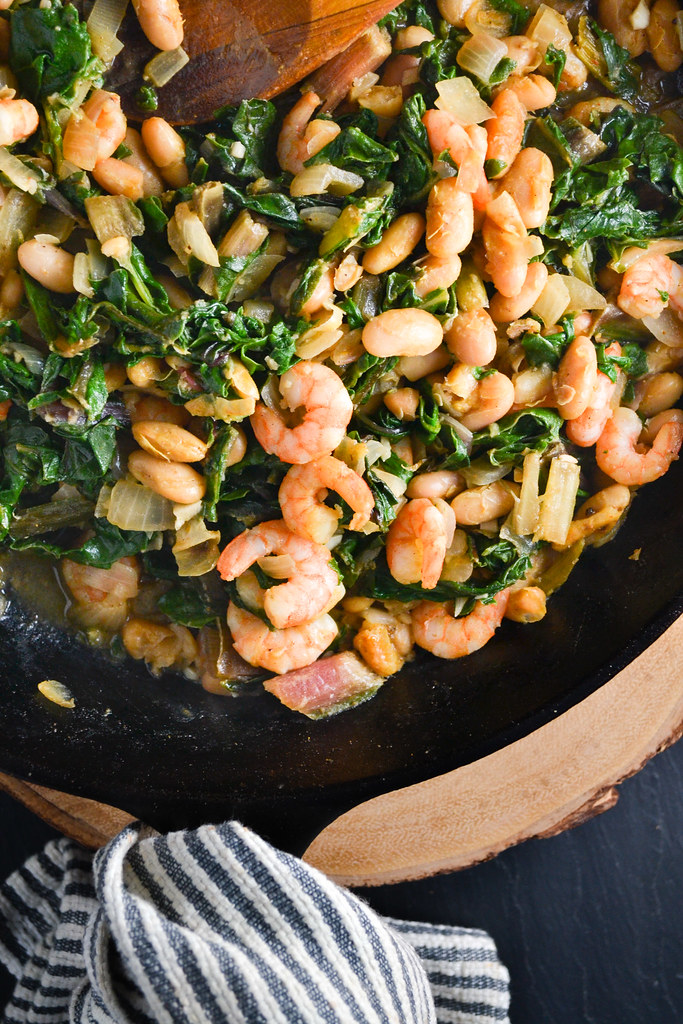 greens, beans, and shrimp | things i made today