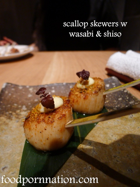 scallop skewers w wasabi & shiso