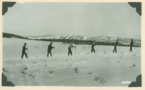 Skiers enjoy the Winter Ski Carnival at Hot Sulphur Springs on the Arapaho-Roosevelt National Forests. Ski and winter sports have been part of the U.S. Forest Service recreation offerings for decades.(U.S. Forest Service/E.A. Snow)
