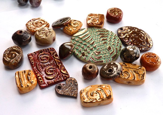 ceramic pendants and beads