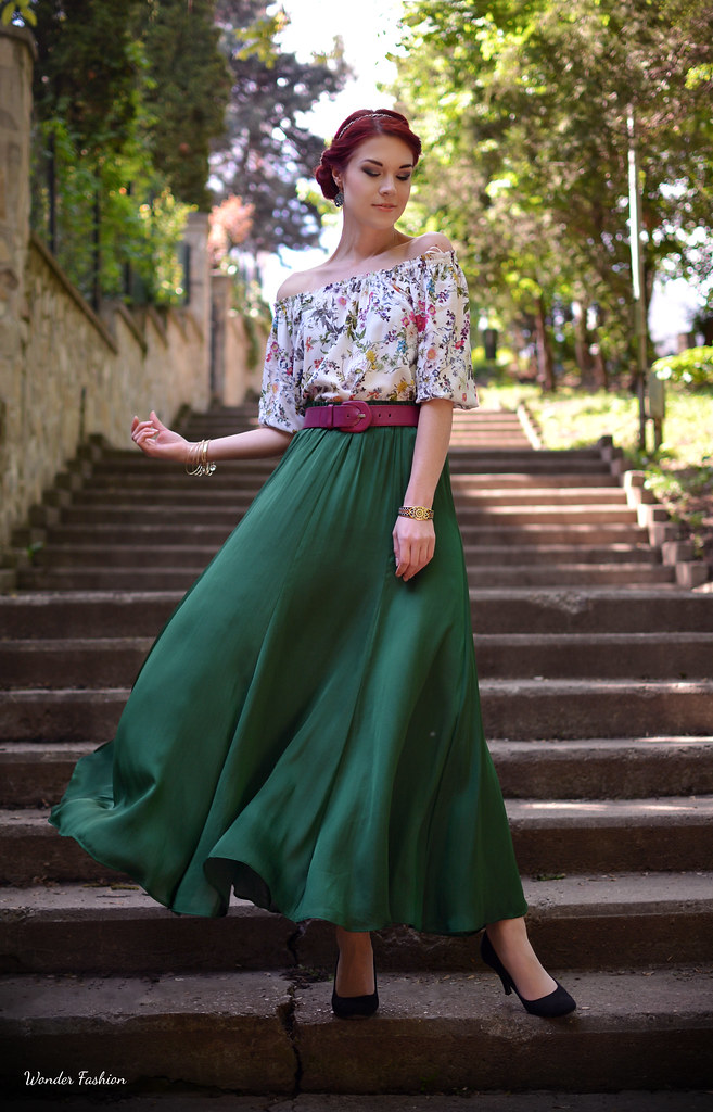 silk green skirt6