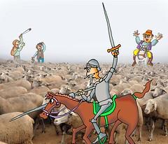 Don Quijote alancea ovejas