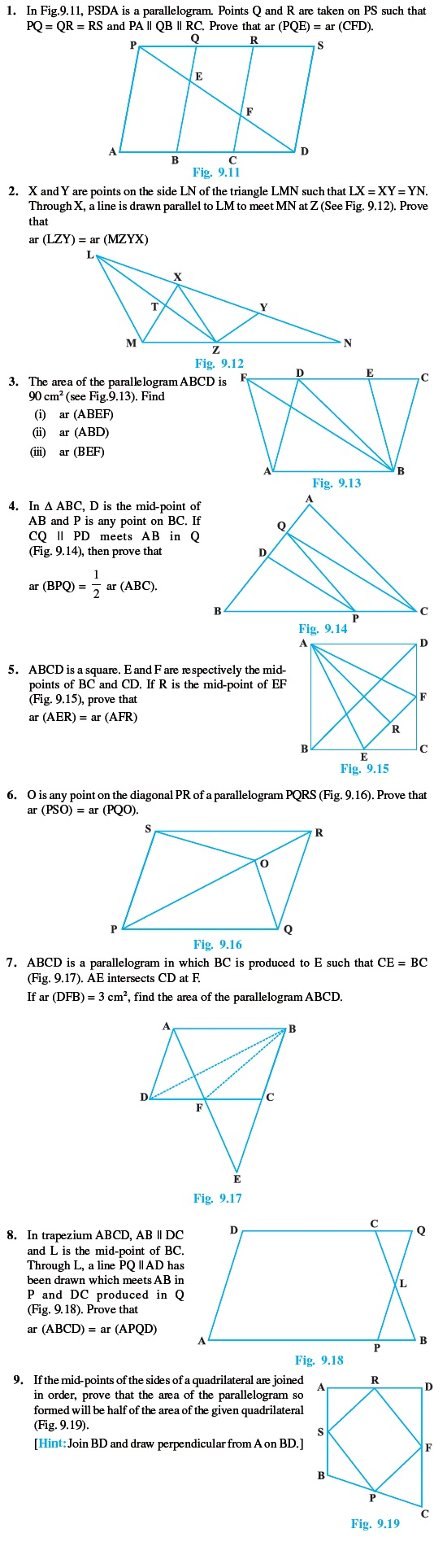 Class 9 Important Questions for Maths  Areas of Parallelograms and  Triangles