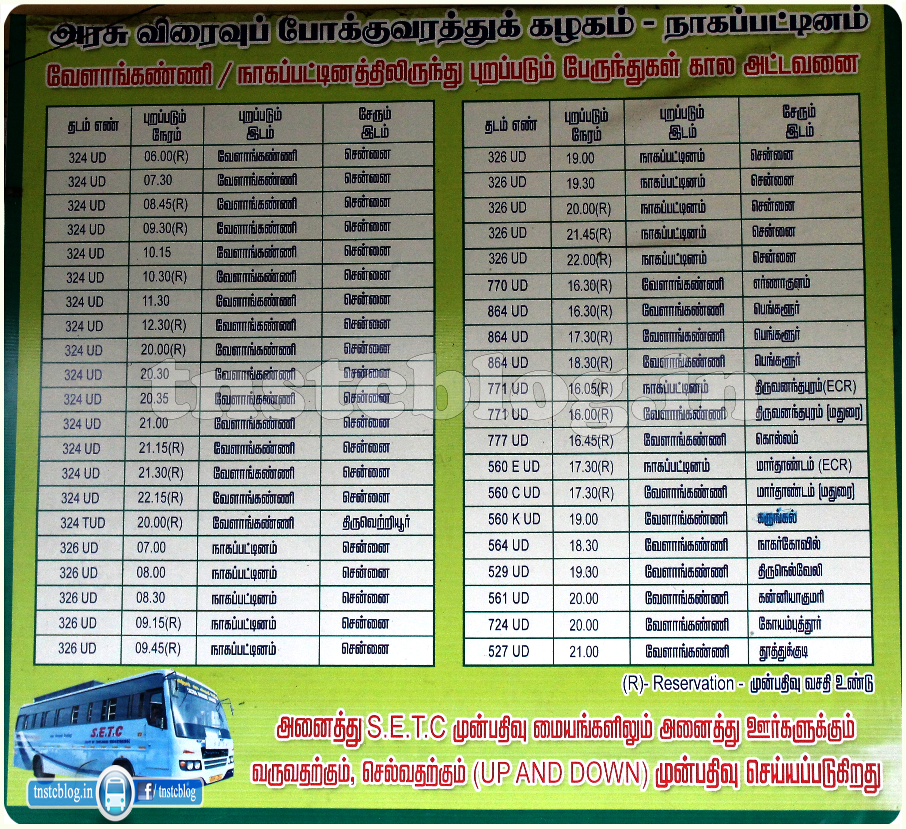 SETC Timings from Velankanni / Nagapattinam