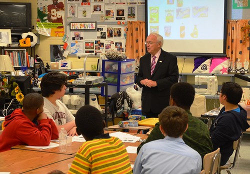 Concannon chats with Takoma Park Middle School's eighth grade Family and Consumer Science class, where students examine food labeling and packaging.
