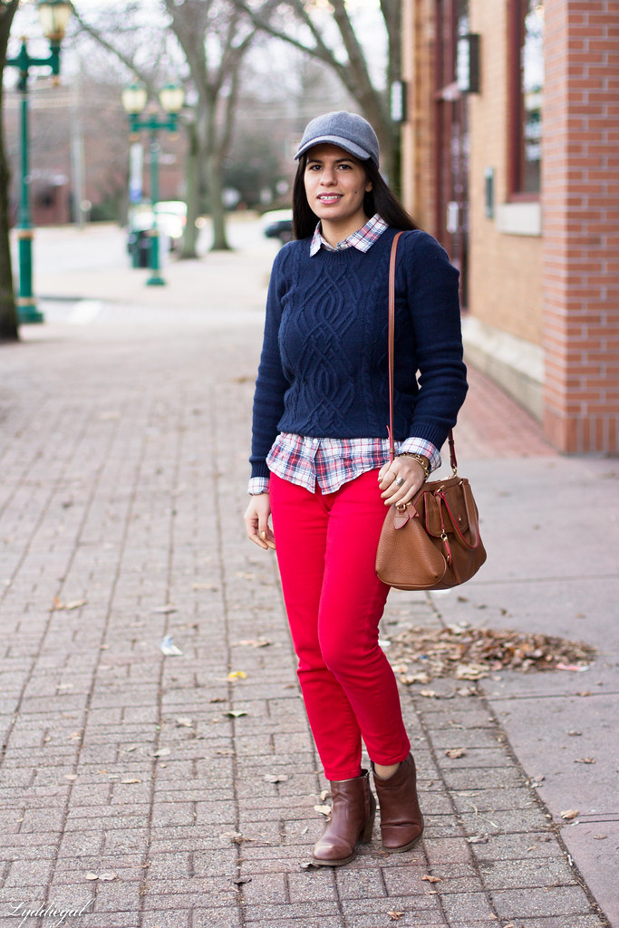 navy sweater, plaid shirt, red denim, ball cap-1.jpg