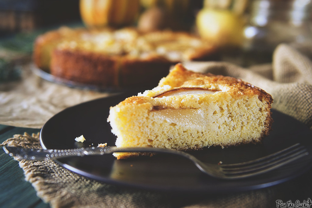 Pear Cornmeal Cake with Rosemary Simple Syrup || PasstheSushi.com