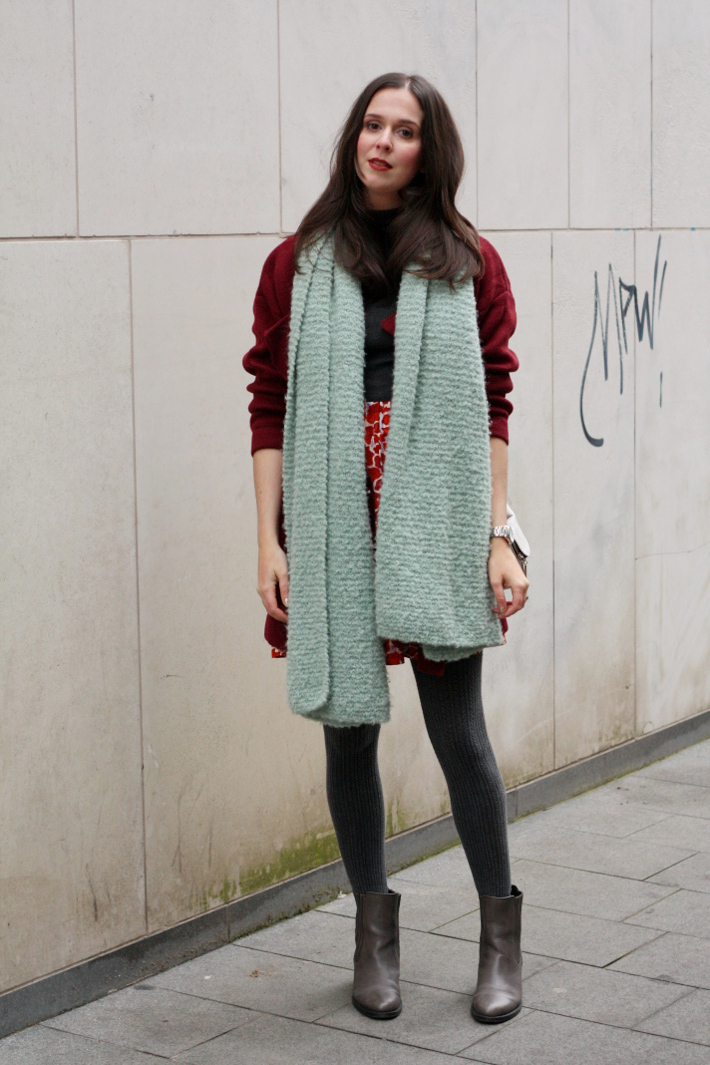 oversized scarf burgundy coat outfit