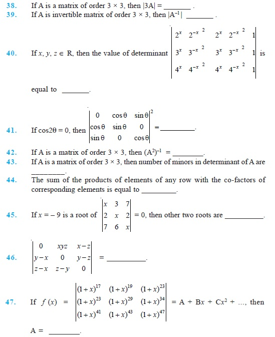 Class 12 Important Questions for Maths - Determinants