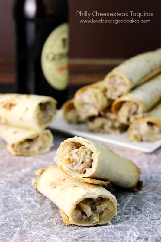 These Philly Cheesesteak Taquitos are an easy and delicious finger food, perfect for game watching or a weeknight dinner! Just like the classic Philly Cheesesteak sandwich, but more fun and portable in a taquito. #StackandSnap #ad