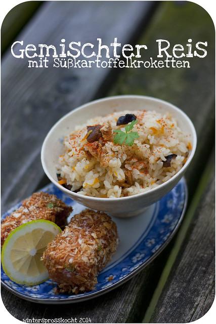 Gemischter Reis mit Kroketten