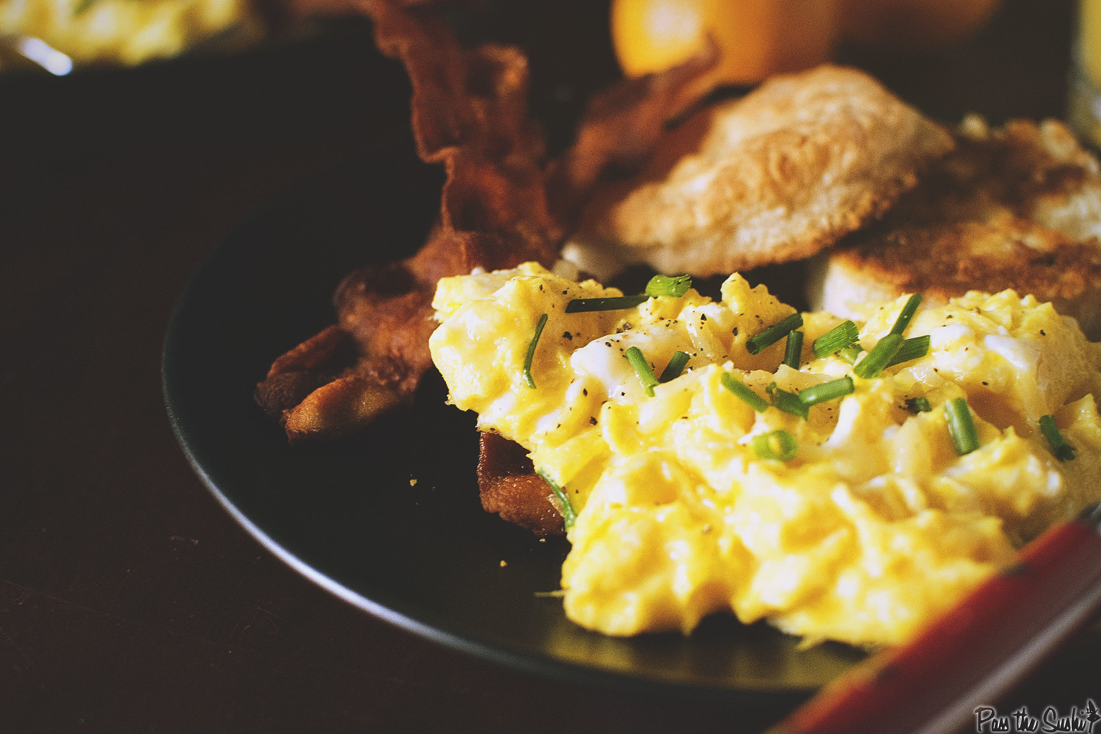 Perfectly Fluffy Scrambled Eggs with Bacon Fat Fried Biscuits | GirlCarnivore.com