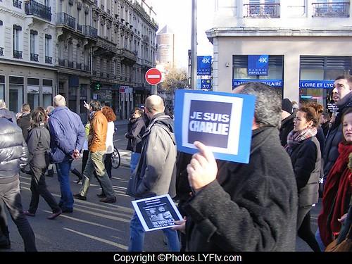 Manif Charlie Hebdo Lyon 11 janvier 2015 Tour Part Dieu