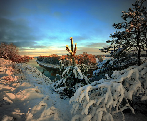 morning trees snow water sunrise canon river landscape scenery drohiczyn cesarz marcelxyz