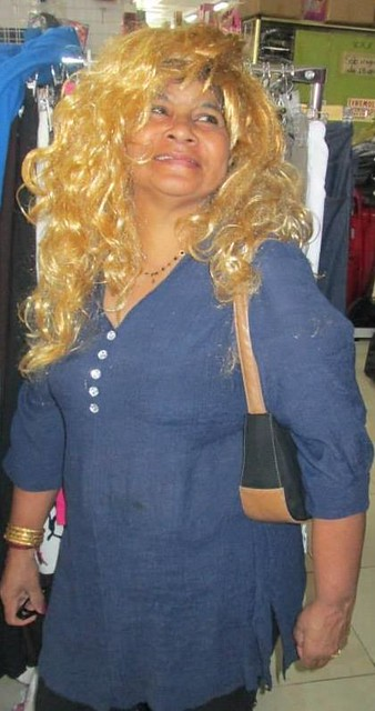 Mother wearing a blonde wig