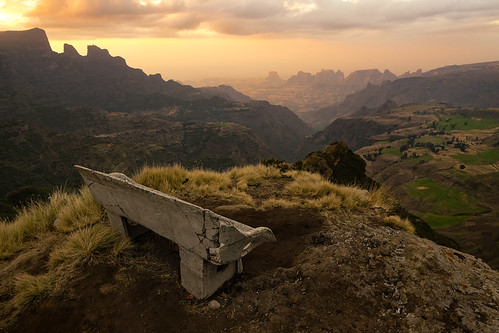africa park travel sunset mountains trek bench landscape nationalpark hiking canyon ethiopia alpha ultrawide epic a7 beautifulview mountainous simienmountains 14mm samyang simiens chenek openlandscape