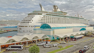 Port Canaveral activity as passengers are boarding NCL Breakaway and  Royal Caribbean Explorer of the Seas