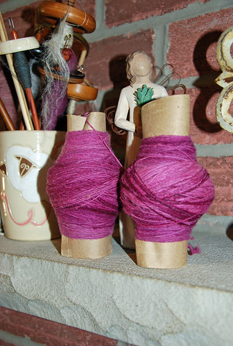 Handspun singles of Columbia wool spun on Canadian Production Wheel