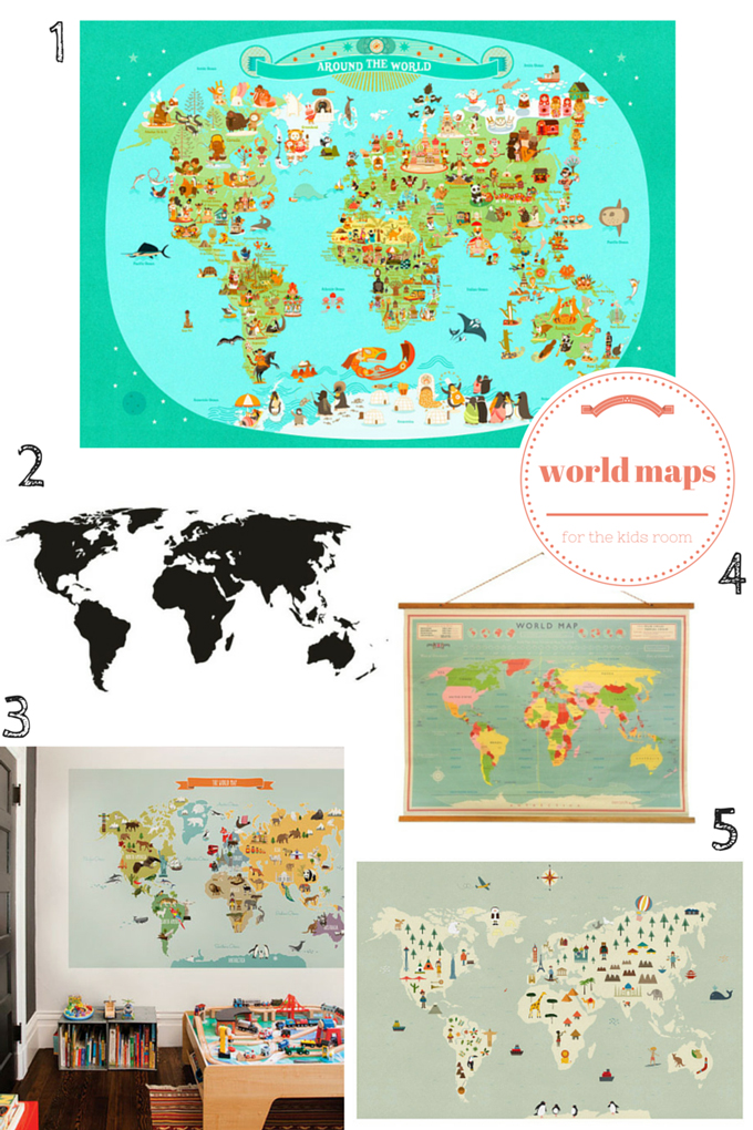 world maps for the kids room