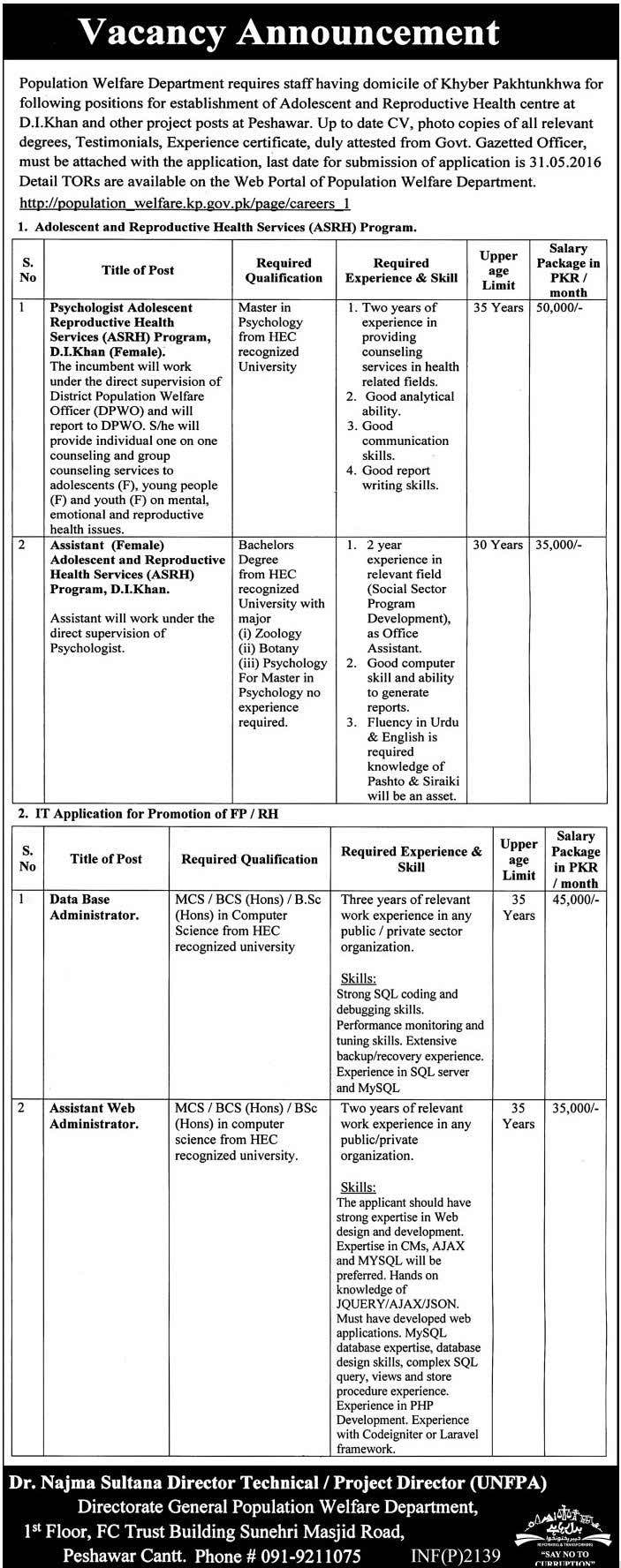 KPK Population Welfare Department Jobs 2016
