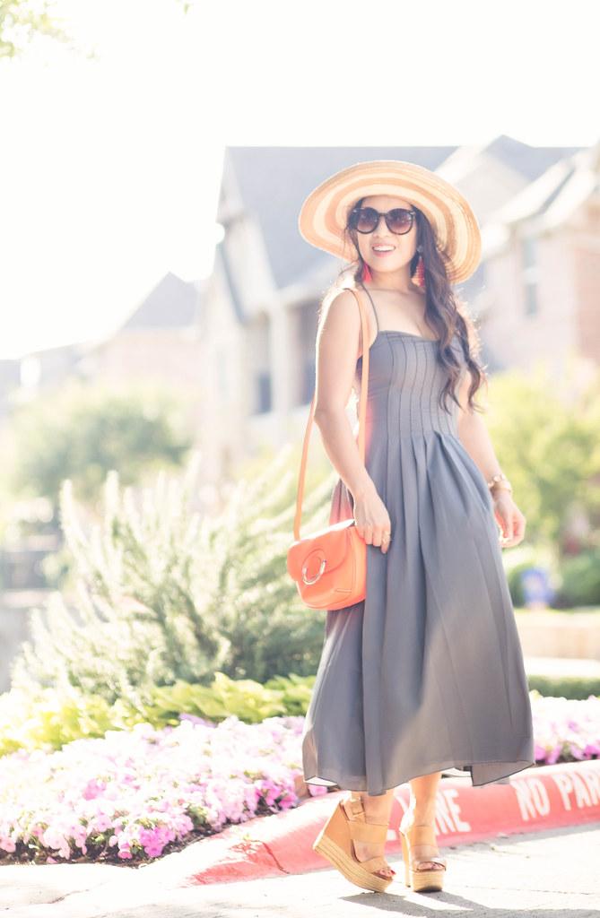 cute & little blog | petite fashion | banana republic pleated strappy maxi dress, italian vachetta mini saddle bag, floppy sun hat, nude wedges | spring summer outfit