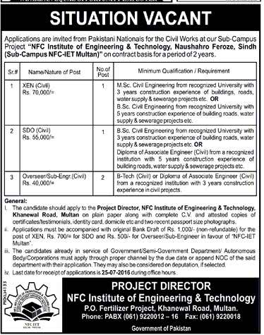 NFC Institute of Engineering and Technology Jobs