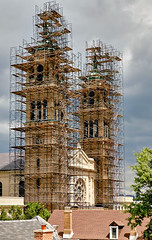 Scaffolding around St. Adalbert's church.
