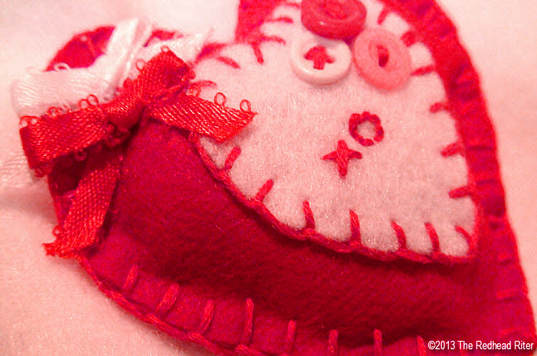 felt heart red white embroidery buttons bows