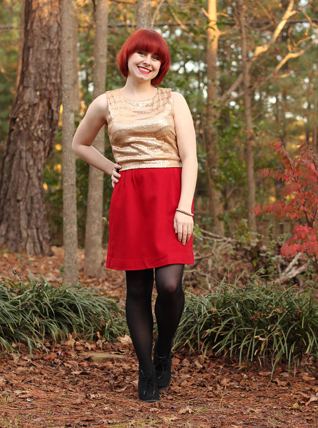Sleevelss Gold Sequined Shirt, Red Wool Pencil Skirt, Black Tights, and Lace-Up Ankle Boots