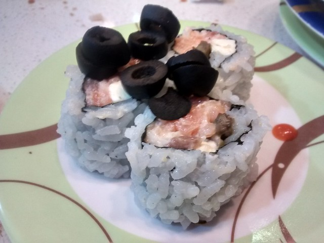 weird sushi - olives, smoked salmon and cream cheese
